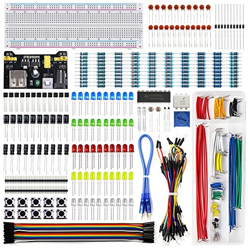 REXQualis Electronics Component Fun Kit w/Power Supply Module, Jumper Wire, 830 tie-Points Breadboard, Precision Potentiometer,Resistor Compatible with Arduino, Raspberry Pi, STM32