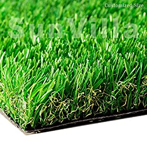 SunVilla 4'X16′ Artificial Grass Realistic 【 Customized Sizes 】 Grass Height 1 3/8″ Indoor/Outdoor Artificial Grass/Turf Many Sizes 4FTX16FT (64 Square FT)