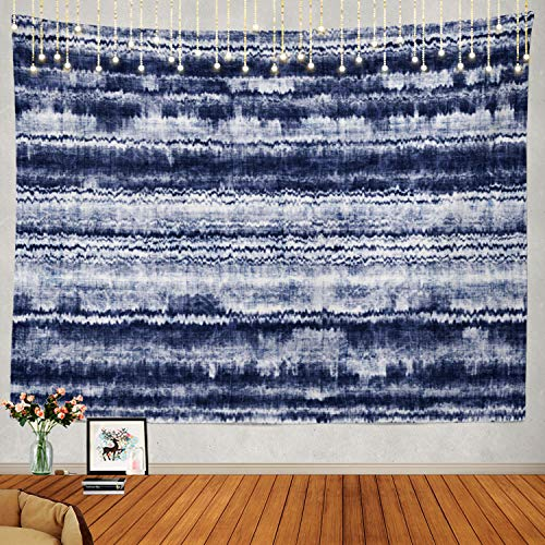 Shrahala Striped Indigo Grunge Tapestry, Marbled Striped Indigo Seamless Pattern Grunge Ethnic Wall Hanging Large Tapestry Psychedelic Tapestry Decorations Bedroom Dorm(51.2 x 59.1 Inches, Indigo)