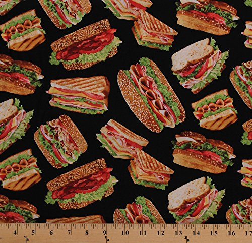 Cotton Sandwiches Panini Subs Heros Hoagies Ham Turkey Sandwich Veggies Meat Deli Lunch Food on Black Cotton Fabric Print by The Yard (food-c1605-hero)