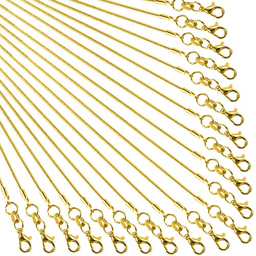 TecUnite 24 Pack Gold Plated DIY Snake Chain Necklace with Clasp for Jewelry Making, 1.2 mm (20 Inches)