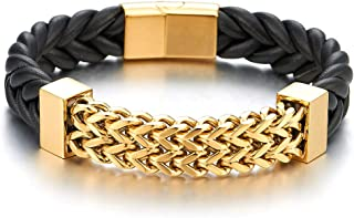 New Men Steel Gold Color Franco Box Chain Black Genuine Braided Leather Bracelet with Magnetic Clasp