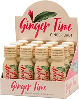 Ginger Time Ginger Shots - Ginger with Citrus & Honey | Non-GMO | No Preservatives or Artificial Flavors/Colors/Sweeteners | B Vitamins | No Need for Refrigeration (12 Pack)