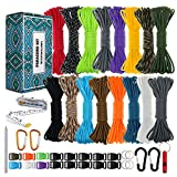 Paracord 550 Combo Crafting Kits - Survival Paracord Bracelet Rope Kits - Tent Rope Parachute Cord with Soft Tape Measure, Buckles, Carabiner, and Key Rings - Great Gift (STARRY SKY - 20FT/Each Color)
