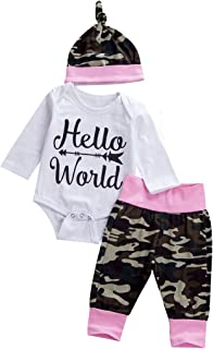Infant Toddler Newborn Outfit Baby Girl Clothes Long Sleeve White Romper +Floral Pants Christmas Clothing