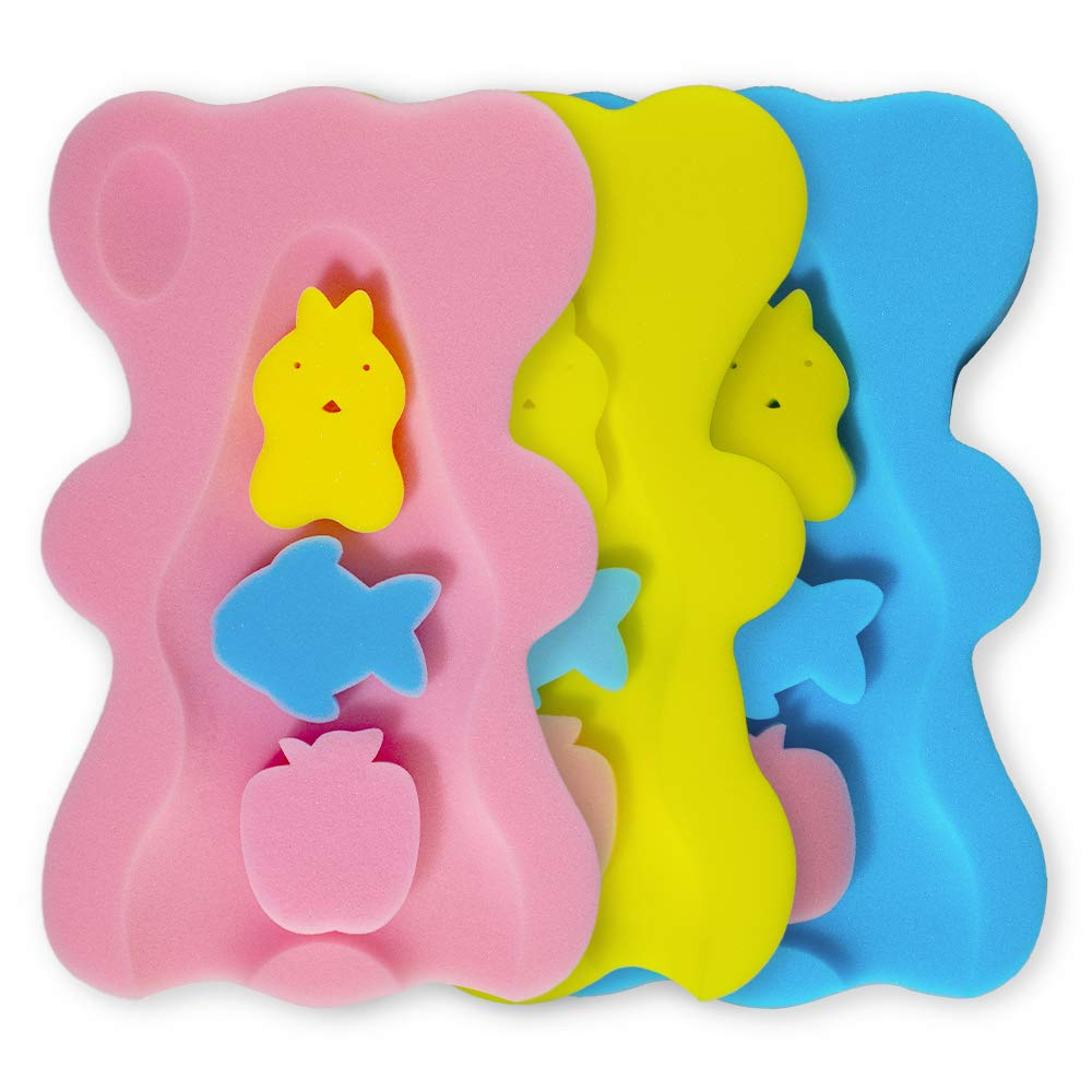 HALLO Soft Infant Bath Sponge Skid Proof Baby Bath Mat Newborn Odor Free (Pink)