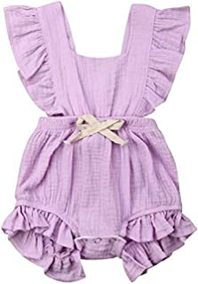 LeCessoriz Romper for Baby, One Piece Cotton Flutter Sleeve Bodysuit for Newborn, Baby, Toddler