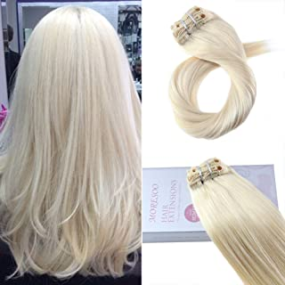 Moresoo Clip in Real Hair Extensions 24 Inch 120g Full Head Set Clip in Hair Extensions 60 Double Weft Human Hair Extensions