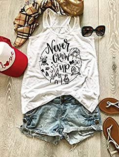 Never Grow Up. Screen Printed With Eco Ink. Disney Inspired Tank. Women's Eco Flowy Tanks. Women Clothing. Sheering Back Seam.