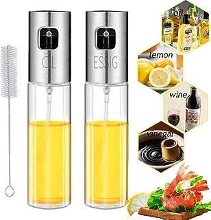 Nifogo Pulverizador de aceite, Dispensador de aceite, Oil Sprayer Vinagre/Aceite de oliva de Acero Inoxidable Botella de Vidrio para Herramienta de Cocina cocinar(100ml)