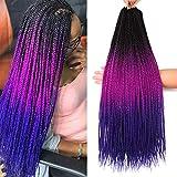 7 Packs 26 Inch Goddess Box Braids Crochet Hair Prelooped Crochet Hair Crochet Braids box braid crochet hair crochet braids hair for black women Jumpo Braiding Hair (26 Inch 7 Packs, 1B/Purple/Blue)