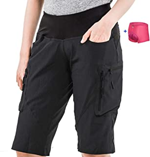 Cycorld Women's-Mountain-Bike-MTB-Shorts with Removable Liner