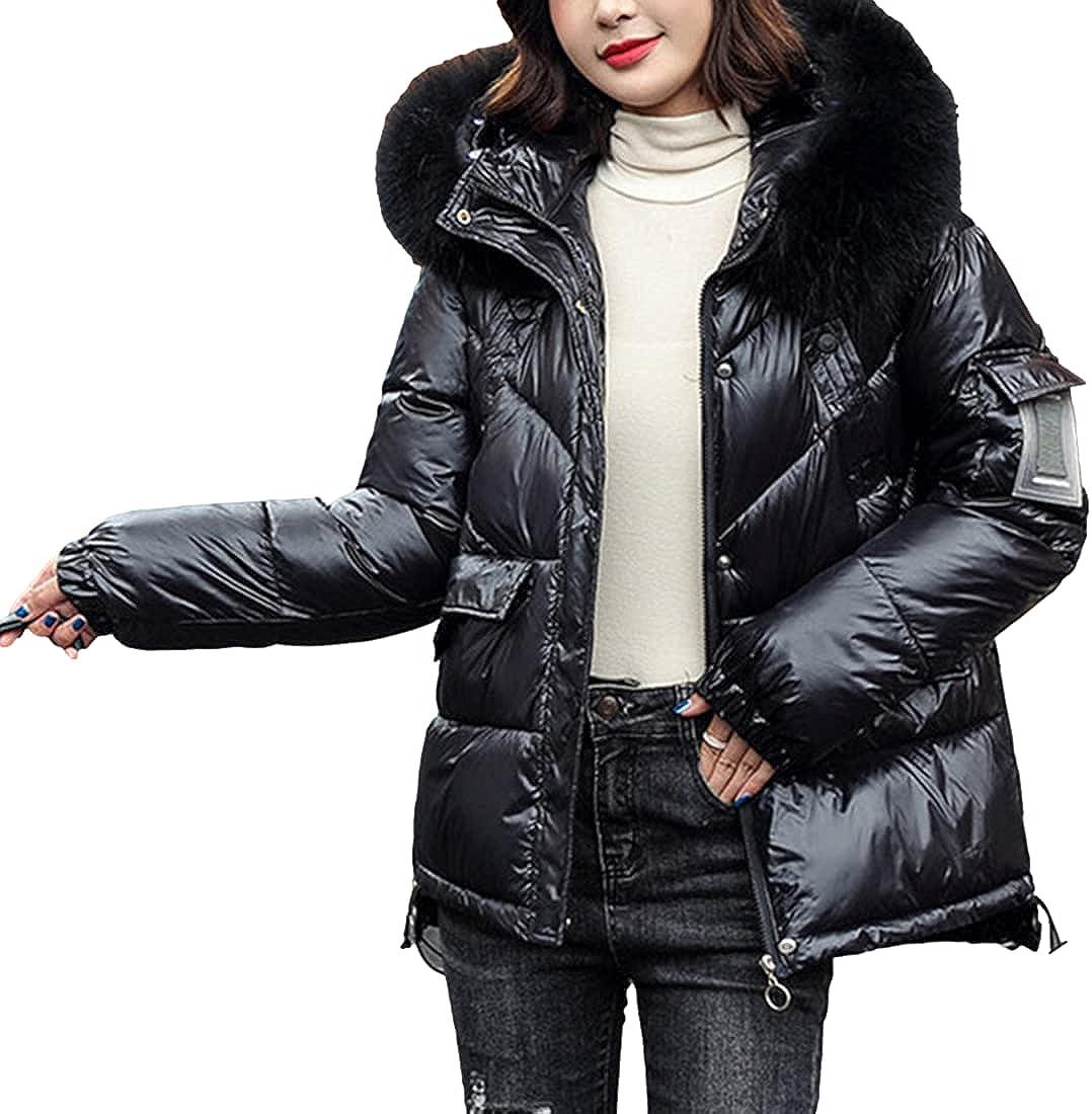 SeekMe Women's Winter Oversized Metallic Shiny Puffer Down Coat with Faux Fur Hood