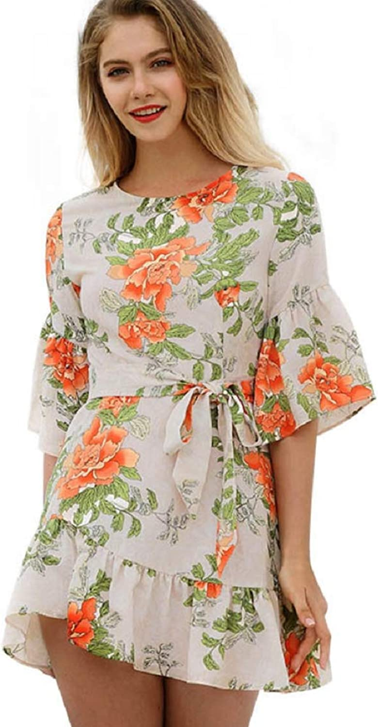 Ruffle Dress Floral Pleated Dress Round Neck Mini Casual Summer Dress for Women