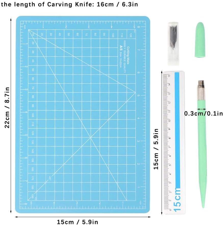 Pr/äzisions schnitzerei Bastelmesser Kit mit Schnitzklingen A5-Schneidebrett und Aluminiumlineal f/ür das Schneiden von Bastel Sammelalben HEEPDD Exacto Knife #5