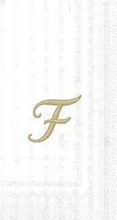 "Ideal Home Range 96 Count Stripes Again Monogram Letter F Paper Guest Towel Napkins, 8.5"" x 4.5"""