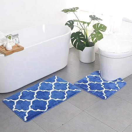 Tapis de Bain Ensemble de 2 tapis, Microfibre Doux Absorbant Antidérapant Tapis Toilette et Tapis Toilette en Forme de U, Motif Géométrique Carpettes de Bain, Lavable en Machine (Bleu royal)