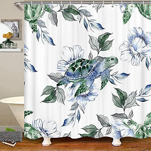 Shower Curtains, Floral Tie Dye Shower Curtain, Ocean Reptile Animals Bath Curtain, Flower Leaves Marine Life Bathtubs Curtain Sets Waterproof, 72' W X 72' L