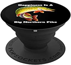 Happiness Is A Big Northern Pike Fisherman Fishing Fanatic PopSockets Grip and Stand for Phones and Tablets
