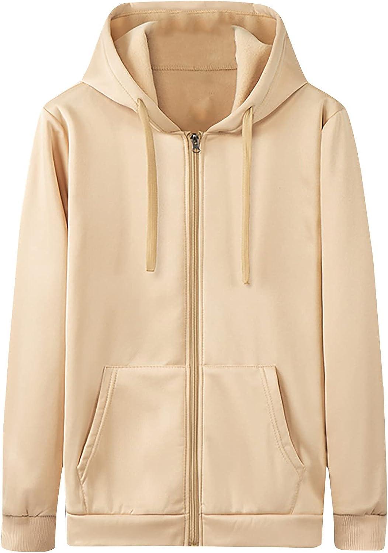 Men's Full Zipper Hooded Sweatshirt Casual Long Sleeve Athletic Sport Solid Hoodies