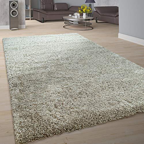 Tapis Salon Doux Shaggy Poils Longs Moderne Moelleux Uni Taupe, Dimension:120x170 cm