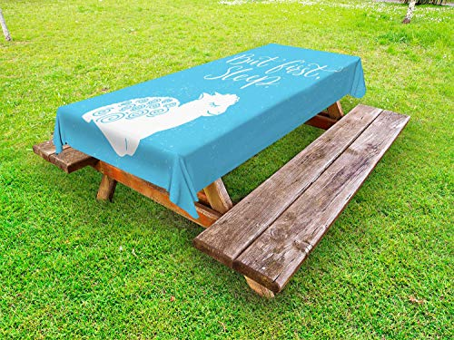 ABAKUHAUS Slaap Tafelkleed voor Buitengebruik, Eerste Sleep Message Lamb, Decoratief Wasbaar Tafelkleed voor Picknicktafel, 58 x 104 cm, Pale Blue White