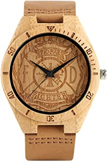 Engraving Firefighter Wooden Watch, Dial Bamboo Quartz Watch, Mens Sports Genuine Leather Male Bamboo Wristwatch Bracelet