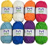 Mira Handcrafts 8 Acrylic Yarn Skeins | Total of 525 Yards Craft Yarn | Includes 2 Crochet Hooks, 2 Weaving Needles, 7 E-Books | DK Yarn for Knitting and Crochet | Perfect Beginner Kit