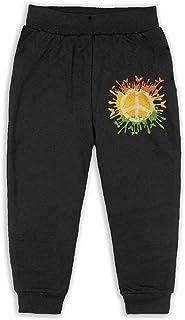 Easionerol Cute Peace Sign Love Tie Die Boys Long Sweatpants Jogger Trousers