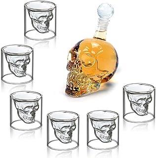 MVPower Botella de Vidrio con Forma de Calavera, 350 ml con 6 Vasos de Chupito de 75 ml Ideal para Whisky, Vodka o Vino Favorito, Idea de Regalo para Navidad o para Una Noche Divertida