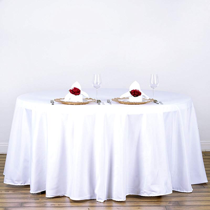 LinenTablecloth 120 Inch Round Polyester Tablecloth White