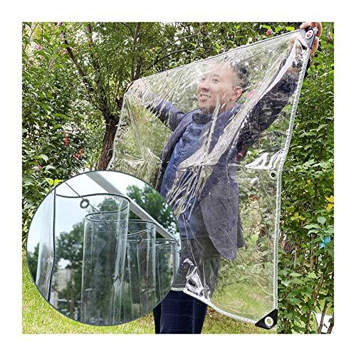 LIANGJUN Transparent PVC Tarpaulin, Waterproof Tear Resistance Tarp Greenhouse Film, Soft PVC Rain Cover, 0.5mm 550g/㎡, Custom Size (Color : Clear, Size : 1.5X2.5M)