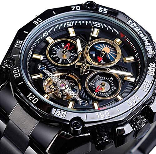 CMXUHUI Moda y elegante, aspecto exquisito, un g negro masculino mecánico reloj automático Tourbillon esqueleto auto viento calendario fase luna correa de acero hombre reloj 21cm