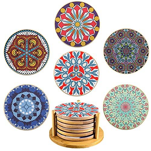 Yoassi Sottobicchieri in bambù con Supporto, Set di 6 Coasters con Stampa per Bevande Tappetino Rotondo Antisciovolo Sottobicchieri Decorativi per Tazze Vasi Candele da Tavolo