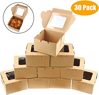 Jyongmer 30 Pack Brown Bakery Pie Boxes 4 inch Kraft Paper Individual Cupcake Boxes with Clear Display Window Natural Disposable Box, Dessert, Cookies, Pastry, Donut, Candy, Party Favors, Wedding Cake