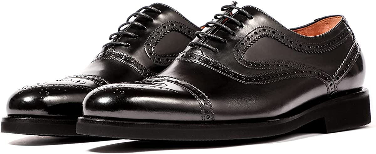 LEIZILEI Hand Carved Mens Leather Shoes Brock Stitching Fetal Cowhide Business Oxford Shoes