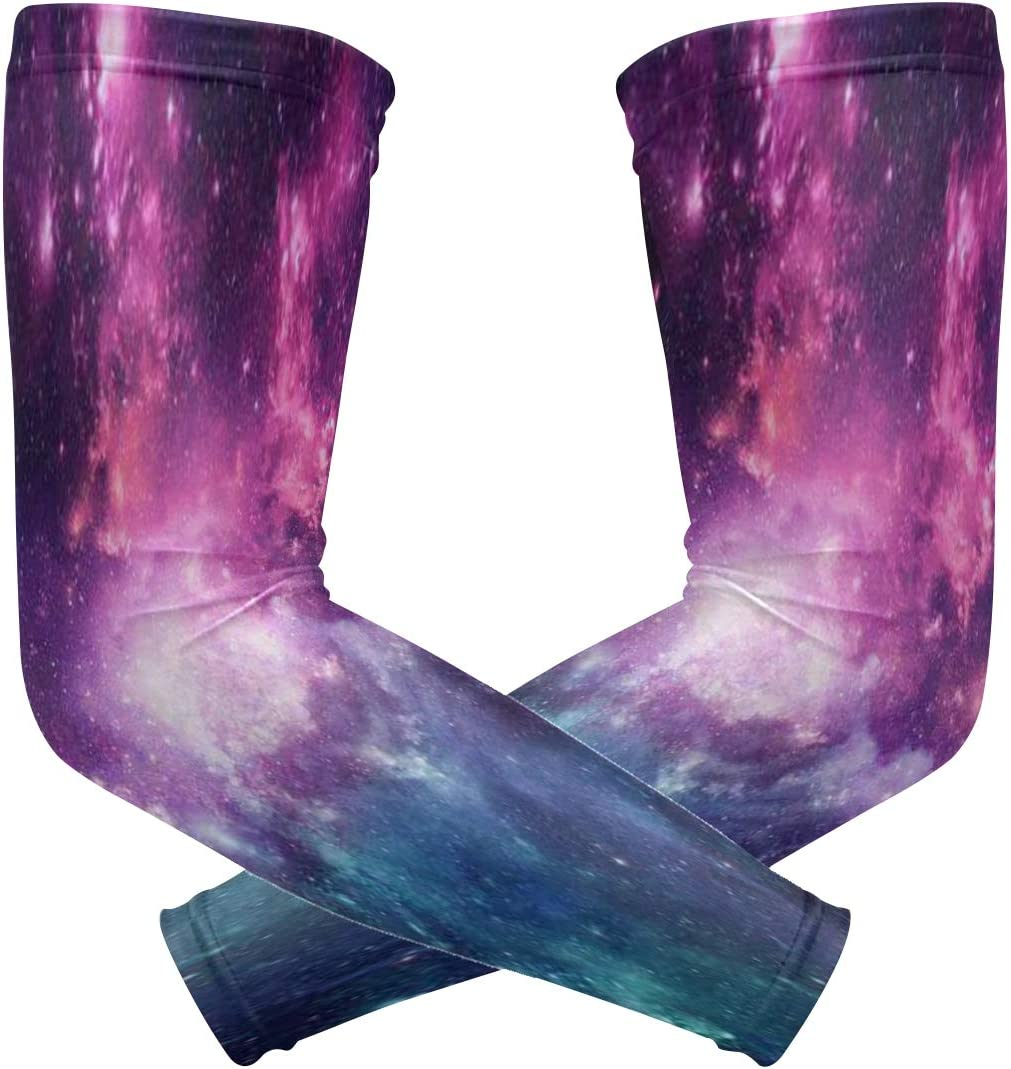 SLHFPX Max 82% OFF Arm Sleeves Purple Galaxy UV Mens New product Universe Sun Protection