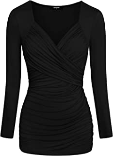 Lotusmile Women's Casual V Neck Long Sleeve Pleated Front Loose Blouses Tops Shirts