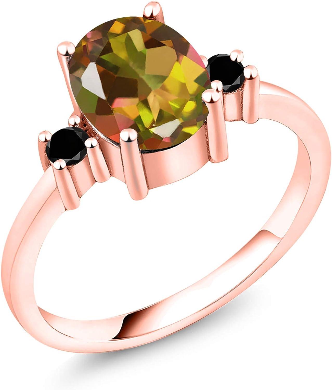 Gem Stone King Sales of SALE items from new works 2.13 Ct Oval 18K Mango Max 89% OFF Diamond Mystic Topaz Black