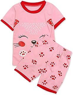 Conjunto de Ropa - Pijama Rosa Gato Playera y Pantalones Cortos - Manga Corta - para bebé niña