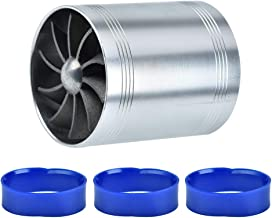 Double Turbine Turbo Charger Air Intake Gas Fuel Saver Fan Car Supercharger 4 Colors Optional Blue Red Silver Black (Silver)