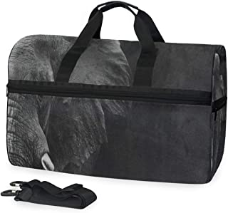Travel Tote Luggage Weekender Duffle Bag, Black Indian Elephant Large Canvas shoulder bag with Shoe Compartment