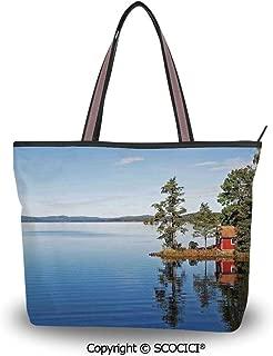 SCOCICI Tote Bag Oversized Shoulder Handbag Purse Lake House Decor,Lakeside Pho