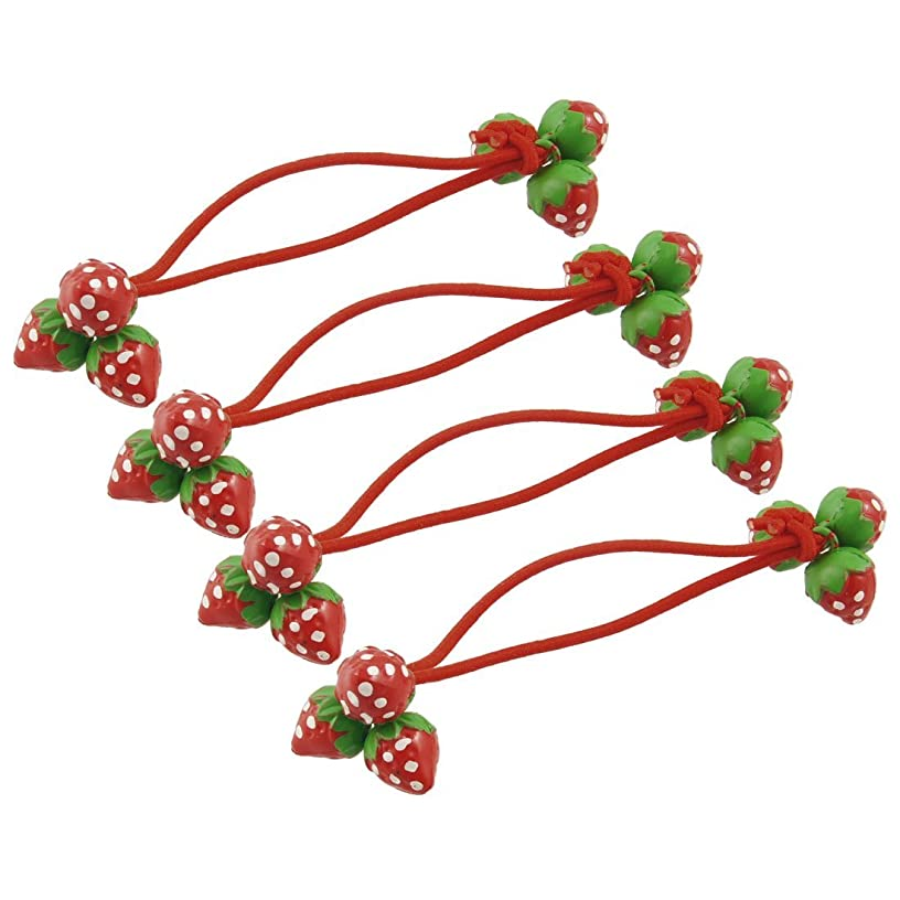サイクル番号寓話RETYLY RETYLY(R)4pcs女の子の赤いイチゴを飾るのゴムバンドヘアネクタイ