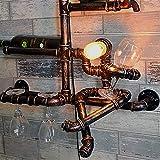 Manyao Retro iluminación industrial aplique la personalidad creativa montado en la pared del tubo de agua del estante del estante del vino ligero de la pared de Steampunk de la vendimia pared del hier