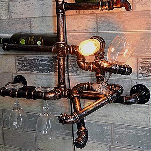 HYY-YY Retro Industriële Verlichting Sconce Creative Personality muur bevestigde Water Pipe Shelf Wijnrek wandlamp Vintage Steampunk Smeedijzer Wandlamp Decoratie Rode Wijnrek Decoration Gift Brac