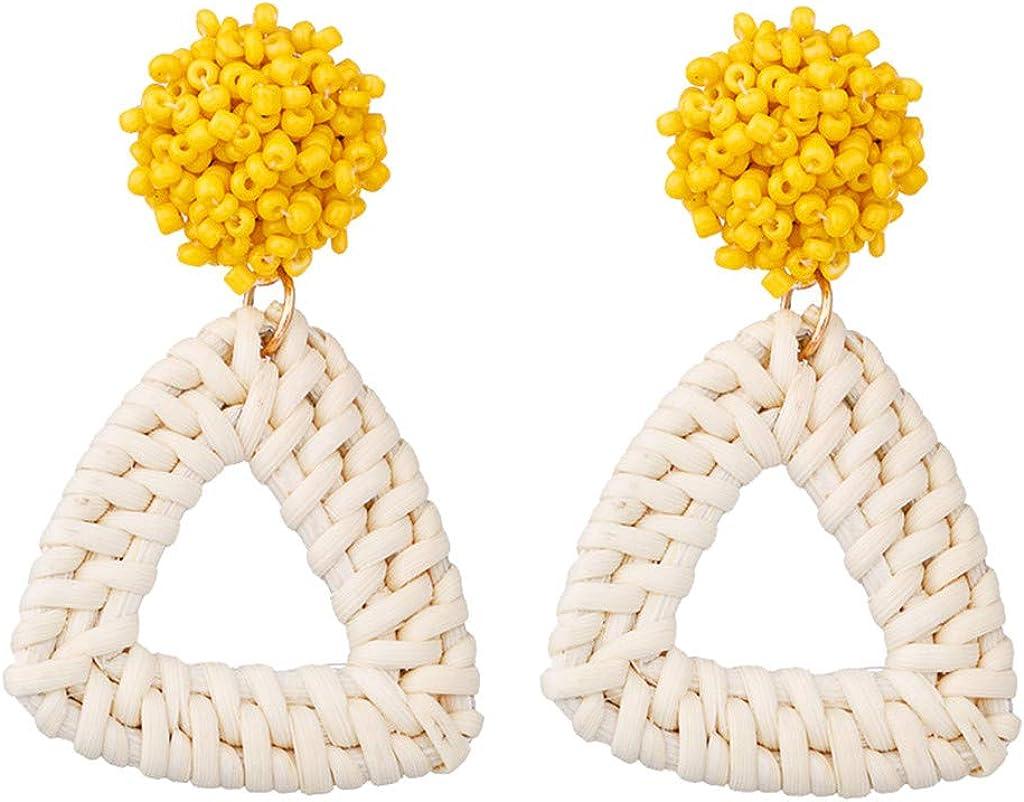 Earring Jackets Geometric Polygon Handmade Beads Long Beach Mall half Rice Ear Rattan
