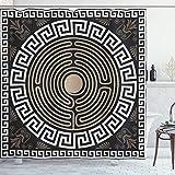 Ambesonne Greek Key Shower Curtain, Grecian Fret and Wave Pattern on Dark Background Antique Retro Swirls, Cloth Fabric Bathroom Decor Set with Hooks, 84' Long Extra, Dark Brown