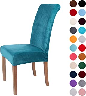 Colorxy Velvet Spandex Fabric Stretch Dining Room Chair Slipcovers Home Decor Set of 4,..