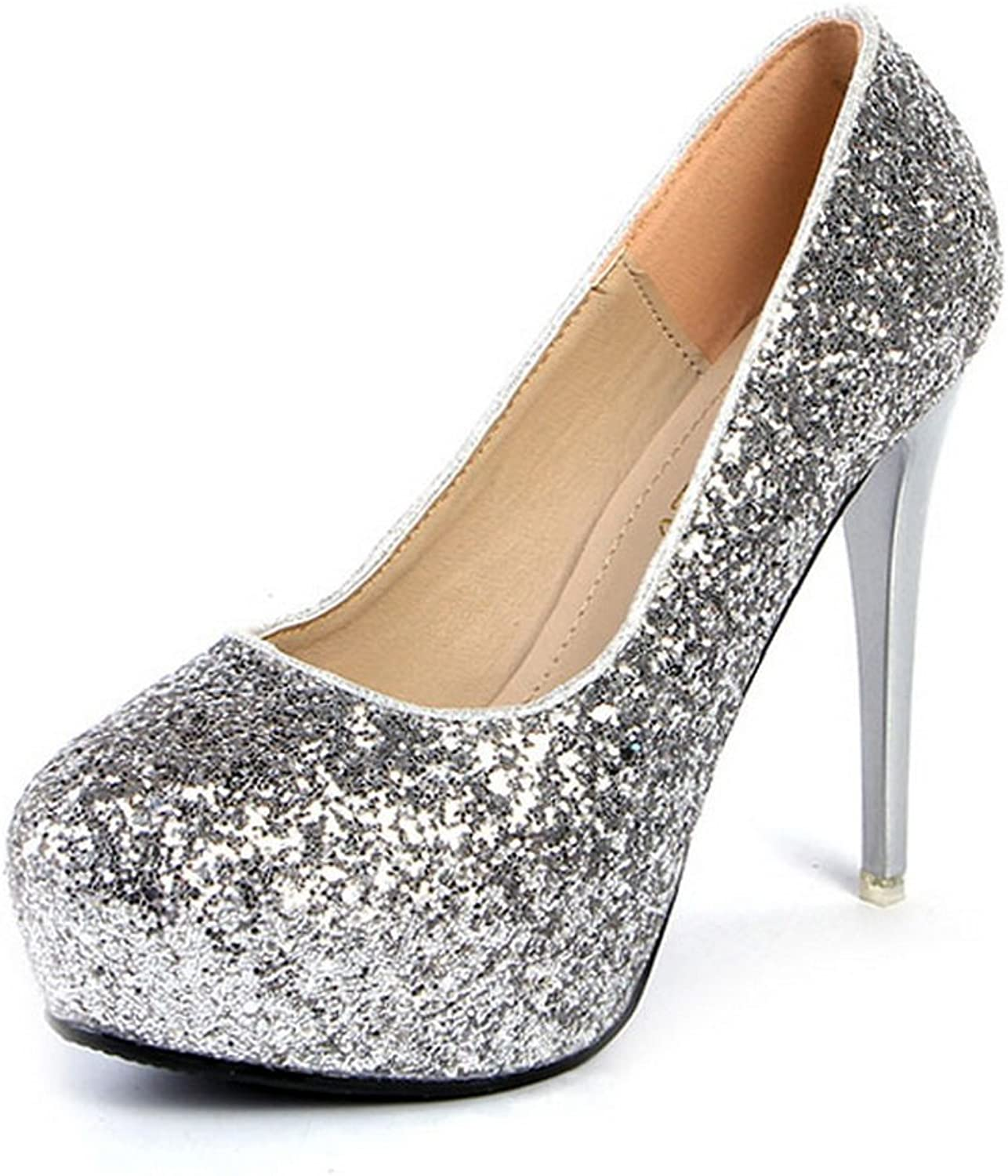 1TO9 Womens Glitter Round-Toe Spikes Stilettos Sequin Pumps shoes